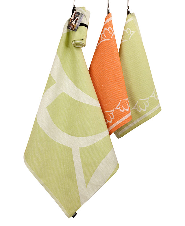 Custom Design roll towel and hand towel, flat woven linen
