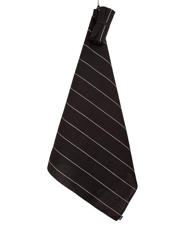 Flat linen roll towel: Liituraita black