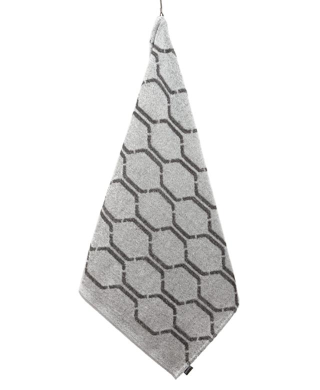 Linen terry towel: Nimikko white/ grey
