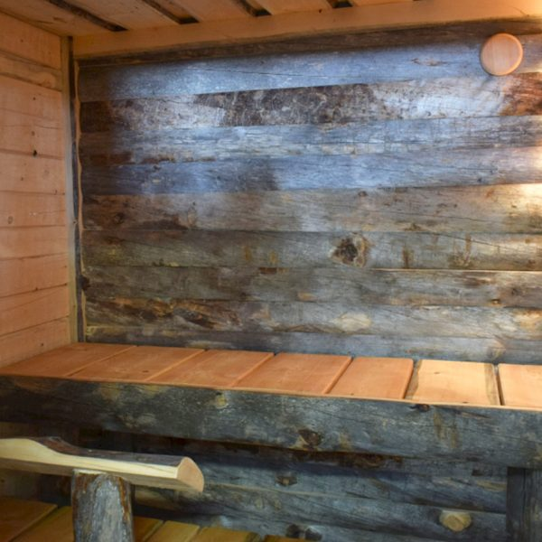 Sauna with Kelo surface back wall